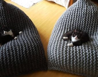 Chunky merino wool Grey Knit teen / Adult bean bag / Gray bean bag chair / Nursery chair / Chunky wool bean bag