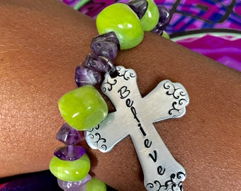 Lime and Amethyst Believe Cross hand stamped bracelet