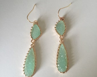 Princess Druzy Bridesmaid Earrings // Double Drop Druzy Earrings // Sparkling Druzy Wedding Earrings