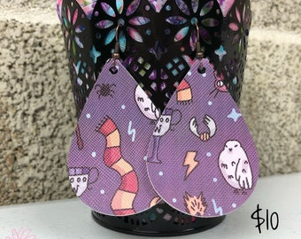 Potter inspired  Faux Leather Teardrop Earrings, purple, wizard jewelry