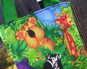 Jungle Animals Toddler Totebag, Preschool Tote, Kids Tote, Boy's Tote