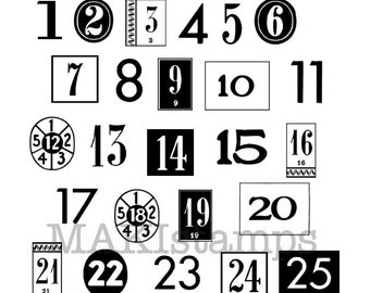 Large Christmas countdown number rubber stamps / Adventcalender number stamps / Unmounted or clingstamp  (150301)