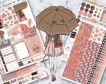 MINI Weekly Kit / Rose Gold Fall / Planner Stickers / Fits Erin Condren Vertical & MAMBI / Hand Drawn / Autumn