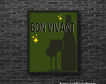 Bon Vivant Print-Wine Printable, Midcentury Modern Print, Bar Art Printable, Black and Green Printable, French Print-Instant Download