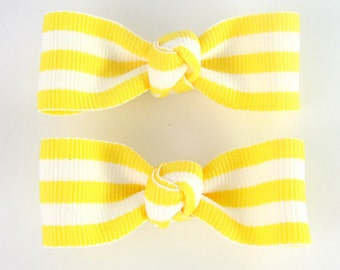 Toddler Hair Clips - Medium Tuxedo Bow Yellow and White Taffy Striped 2 Inch Barrettes for Baby Girls No Slip Alligator Clips AP