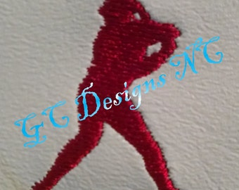 Small Baseball Hitter Embroidery Design