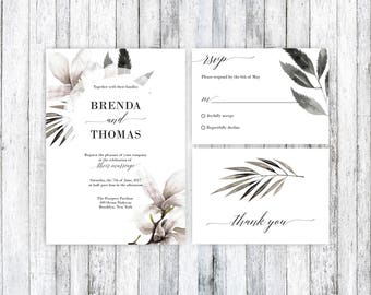 Wedding Invitation Template, Floral Wedding Invitation, Printable Wedding Invitation Suite,Wedding Invitation PDF, Boho wedding, Printable