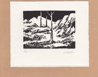 "Linocut ""Landscape"" original print"