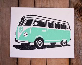 VW Bus // Handmade Screenprint