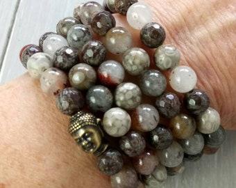 JAPA MALA, 108 Mala Beads, Mala Bracelet with Lodalite Quartz, Jasper, Chinese Snowflake, Buddha Head Charm, Yoga Beads, Yoga Wrap Bracelet