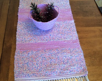 Handwoven Table Runner with Matching Bowl and Pinecones