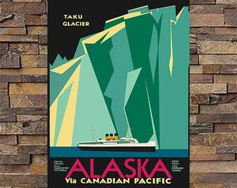 Alaska Canadian Pacific Vintage Travel Ad, Vintage Train Ad Giclee Art Print, fine Art Reproduction