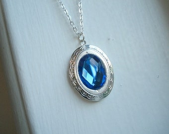 Silver Blue Saphire Oval Locket Necklace Saphire Jewelry September Birthstone Necklace Locket Jewelry
