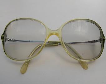 Rodenstock glasses, Vintage glasses, Rodenstock frame,clear lens retro glasses, vintage style glasses,light green glasses frame 118