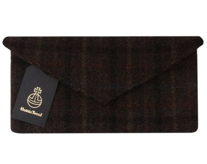 Harris Tweed Chocolate Brown Tartan Clutch Bag