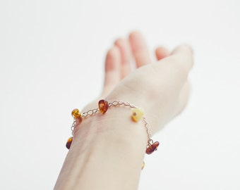 Natural amber bracelet, charm amber bracelet, amber bracelet with chain