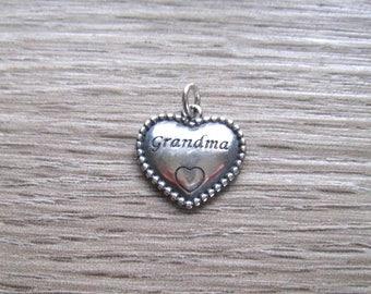 Sterling Silver Grandma Heart Charm Pendant, 23 MM Cast Charm, Word Pendant, Milestone Charms
