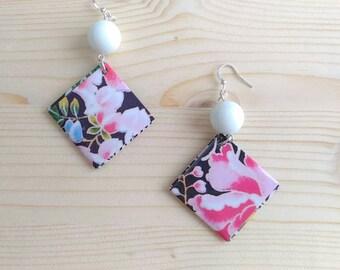 Japanese style gift card pendant earrings, gift for her, gift for girlfriends, handmade earrings, made in Italy