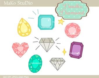 Diamond clip art, jewelry clip art ,cute DIAMOND -Digital clip art,instant download,Personal or Commercial Use
