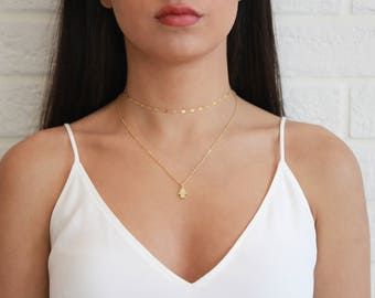 Gold Hamsa Necklace • Gold Hamsa Necklace • Simple Gold Necklace