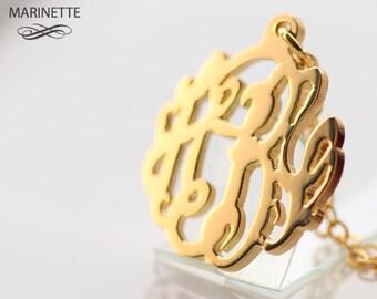 Solid 14K Gold monogram necklace - 5/8 inch