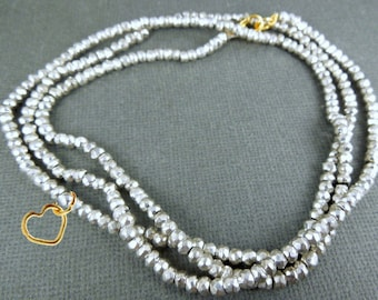 "Gemstone Beaded Chain with Heart Charm -- Finished 18""  Silver Pyrite Bead Chain with Gold Lobster Clasp"