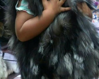 New!!! GIRL'S Natural Real Silver Fox Fur vest