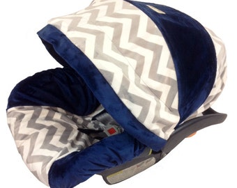 Chevron Grey And Navy Baby Car Seat Cover Infant Designer Slipcovers Covers Fancy