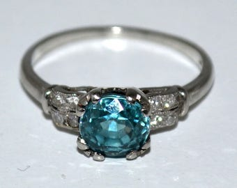 Beautiful Vintage Blue Zircon & Diamond Ring  Platinum