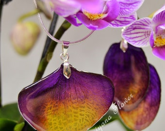 Real flowers handmade jewellery set orchid necklace earings purple yellow