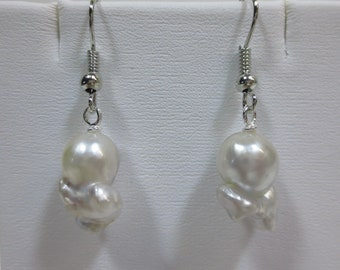 Funky White Silver South Sea Pearl Dangling Earrings [item 469]