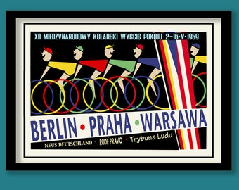 Vintage Cycling Poster . Mid Century Peace Race Cycling Poster. A2 size. Polish Poster. Bike Race Print. 1950s print.