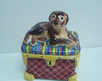 CUSTOM ceramic dog casket - dog home decor - pottery casket - ceramic dog - casket for jewelry - jewelry box - made to order