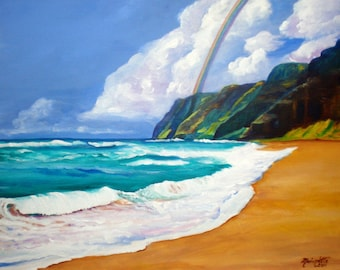 polihale beach, 8 x 10 art print, kauai giclee prints, ocean wave paintings, mountains and rainbows, sandy beaches hawaii hawaiian decor