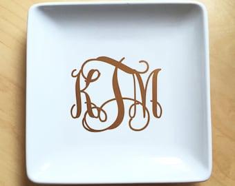 Monogrammed Jewelry Plate - Ring Bowl - Jewelry Dish - Ring Dish - Custom Jewelry Holder - Monogram - Gift for Her