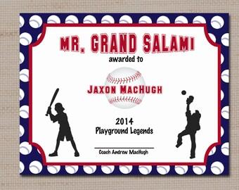 baseball certificate templates