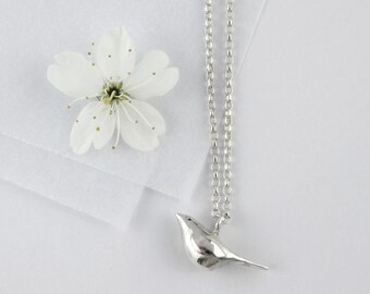 Bird necklace I Silver bird necklace I Bird & initial tag