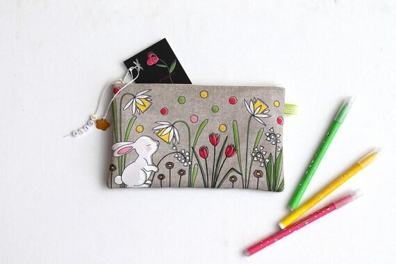 Pencil case personalized linen with illustration original White Rabbit