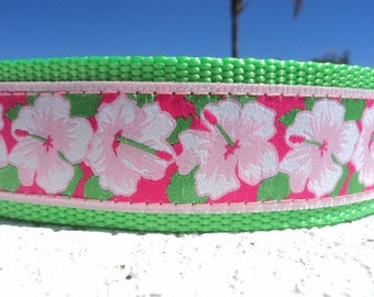 "Wide Large Dog Collar Hibiscus 1.5"" width Quick Release buckle adjustable - Martingale style is cost upgrade - to XL size"