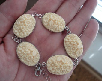 Vintage Cream Carved Faux Ivory Celluloid Silver Bracelet Flowers Floral 7 to Over 9 Inches