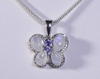 Moonstone Tanzanite Necklace Sterling Silver Gemstone Jewelry