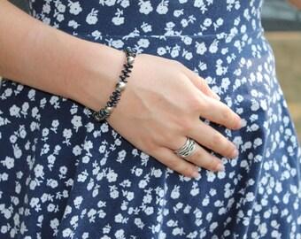 Silver and Czech Lentil Bead Bracelet