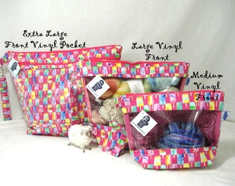 Popsicles!  Knitting Project Bag, Zippered Project Bag, Knitting Wedge Bag, Vinyl Front Bag, Yarn Tote Bag, Yarn Bag, knitting bag,