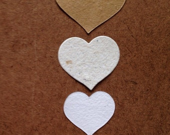 Heart confetti, heart die cut shapes, neutral hearts, handmade paper, recycled paper, eco friendly paper, wedding confetti, table decor