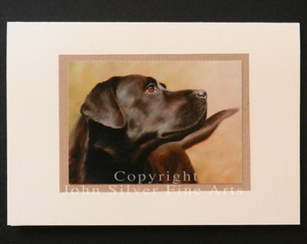 Labrador Retriever Dog Portrait Hand Made Greetings Card. From an Original Painting by JOHN SILVER. GCBL002
