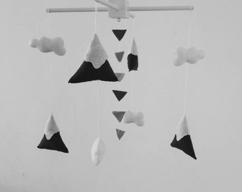 Black and white nursery mobile, mountain baby mobile, tribal theme,  cute little nursery mobile made to order