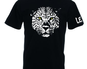Leopard t shirt for men. Black tshirt leopard head gift for guys. Manly man present with save the animals charity donation Mountain man gift