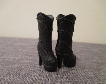 Barbie Doll shoes black high heal studded boots winter style fashion