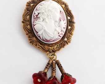 Convertible Brooch Cameo, Mother's Day Gift Idea, Red Cameo Brooch, Red Floral Brooch, Cameo Jewelry, Victorian Style Cameo Pendant, SRAJD
