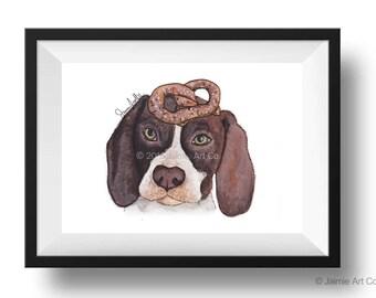 Dog Art Print - English Pointer and Pretzels, Childrens Art, Kids Wall Art, Frameable Art, Animal Wall Art, Dog Art, Dog Portrait, Pet Art